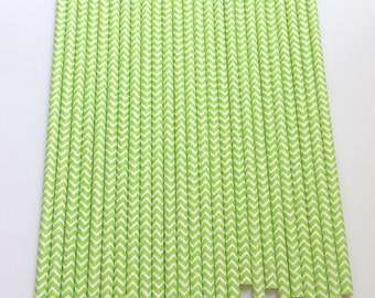 LIME GREEN CHEVRON Paper Straws / Party Straws / Party Decor / Chevron Straws / Paper Party Straws / Birthday Straws / Drinking Straws