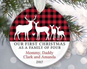Deer Family of 4 Personalized Christmas Ornaments - Family of four Deer Ornament - Farmhouse Christmas Plaid Buffalo Check OR844