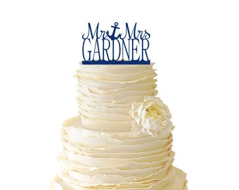 Glitter Mr. And Mrs. With Anchor And Personalized With Your Name Acrylic Wedding/Special Event Cake Topper - 061