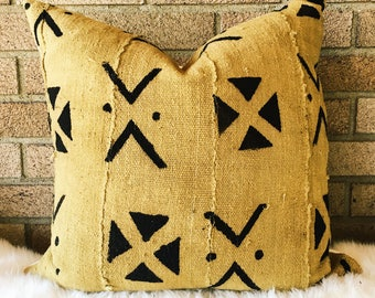 Authentic African Mudcloth Pillow Cover, Mustard