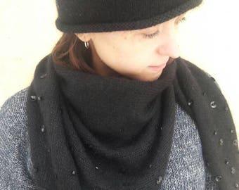 Very soft beanie womens hand knitted beanie merinos warm winter hat Slouch beanie decoreted beads hat slouchy hat