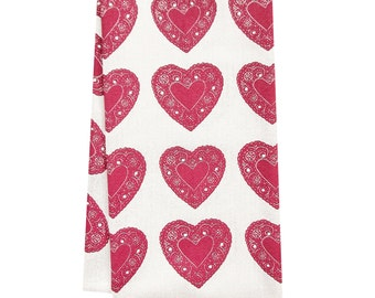 Organic tea towel heart pattern print