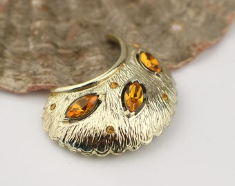 1950s Gold Tone Half Moon Curved Dome Shape Brooch with Amber Colored Glass Stones