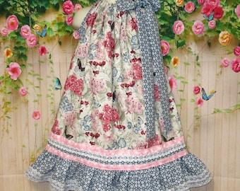 Girls Dress 5/6 Blue Pink Floral Pillowcase Dress, Pillow Case Dress, Sundress, Boutique Dress