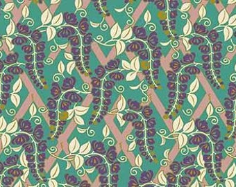 Quilt Gate Hyakka Ryoran Modern Movement 2 collection wisteria in green, white, and gold cotton fabric HR3230-12B