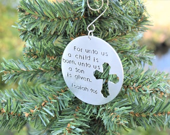 Christian Christmas ornament, For unto us a child is born ornament, isaiah 9:6 christmas ornament with cross, cross christmas ornament