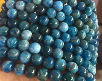 6mm-12mm Natural Blue Apatite Round Beads, Multicoloured Blue Gemstone Beads, Full Strand