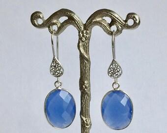 Memorial Day Sale Blue Chalcedony 20x15mm Sterling Silver Dangle Earrings