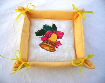 Linen Bread Basket, Christmas Basket, Foldable Textile Basket, Cloth Serving Tray, Handmade, Embroidered with Bands