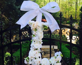 Floral hydrangea and multi-flower Monogram Letter Initial Wedding Door  Floral Wreath