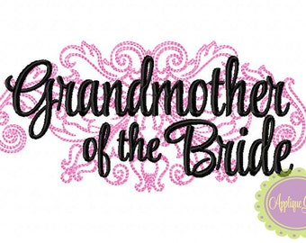 Grandmother of the Bride Damask Machine Embroidery Design