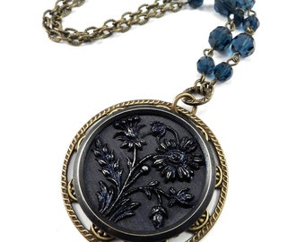 ANTIQUE BUTTON Necklace - BLUE Blossom Victorian Jewelry by Compass Rose Design