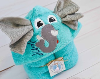 Towel - Hooded Towel - Baby Towel - Toddler Towel - Elephant Towel - Baby Gift - Embroidered Towel - Kids Towel - Personalized Towel