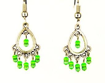 Teardrop Earrings with Small Green Resistors