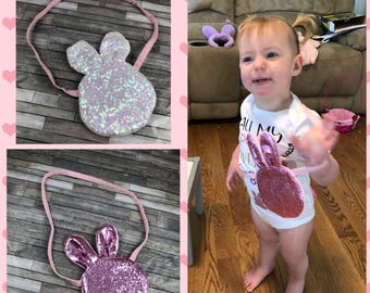 Glitter bunny coin purse, easter pocketbook, easter purse, girls purse,  personalized bag