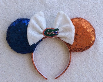 Florida Gators Mickey Minnie Mouse Ears University of Florida Go Gators Head Band Headband Orange and Blue