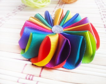 Hair ornament Hairpin Scrunchy Hair Bow Bow for princess  Baby Decorating For girls Hair clips bows Hair flower Rainbow flower Rainbow bow