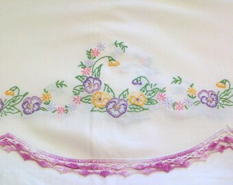 Vintage Embroidered Full Size X Long Top Sheet Purple and Yellow Pansies