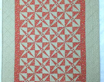 Red & Olive Quilted Wallhanging