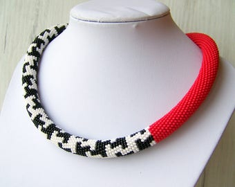 Statement Asymmetric necklace - Red White Black Bead Crochet Rope Necklace - geometric choker necklace - Beadwork seed beads necklace