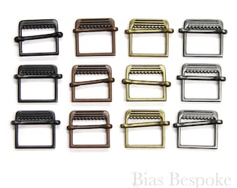 Set of 12 Slide-Style Small Metal Buckles in Four Colors