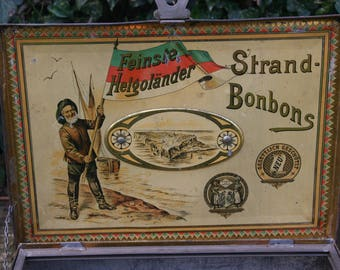 "Antique tin Box ""Heligoland Strand-Candies"" 1900/antique tins 1900th"