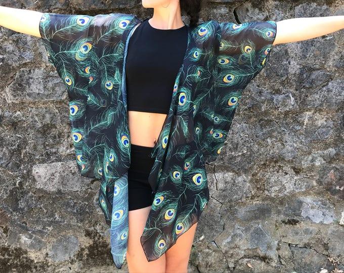 PEACOCK Draped Kimono