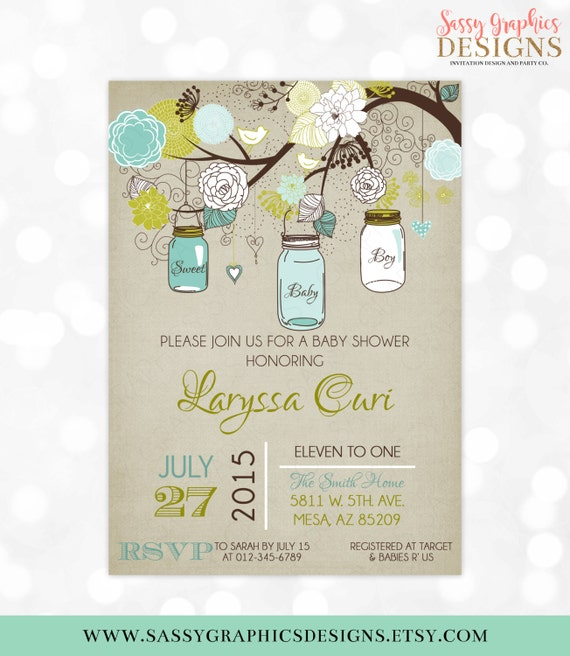 Mason Jars Baby Shower Invitation Boy Invite Blue Green