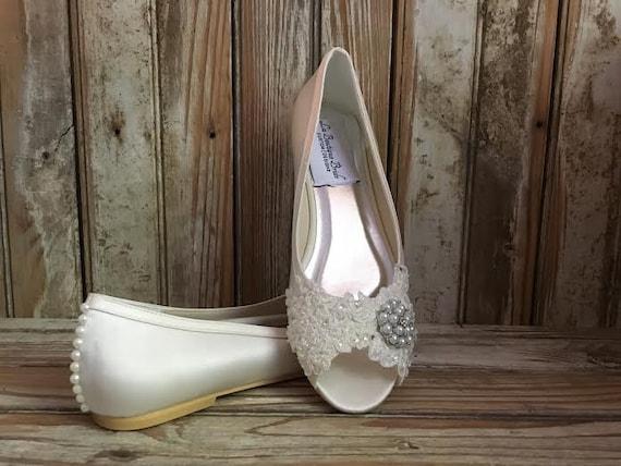 Ivory Satin Bridal Flat Peep Toe Ballet Wedding Flat Beaded