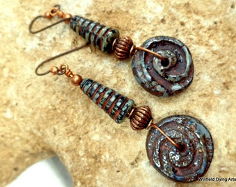 Ceramic Disk and Czech Glass Honey Comb Earrings