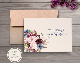 Funeral Thank You Notes, Personalized Sympathy Acknowledgement Cards, Bereavement Cards, Funeral Thank You Cards, Personalized Funeral Cards
