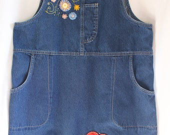 Embroidered Denim Jean dress hippie boho one of a kind