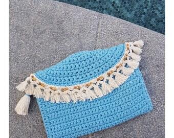 Blue Crochet Boho Bag