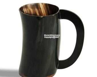Handmade Viking Beer Mug Medieval Drinking Cow Horn