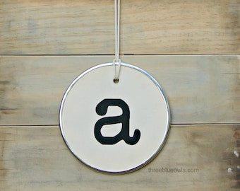 Giant letter round hang tag sign 10 inches