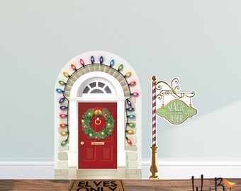 Christmas Elf Door Decal - Elf Prop Wall Decal Set - Reusable - Fairy Door Wall Decal - WB713