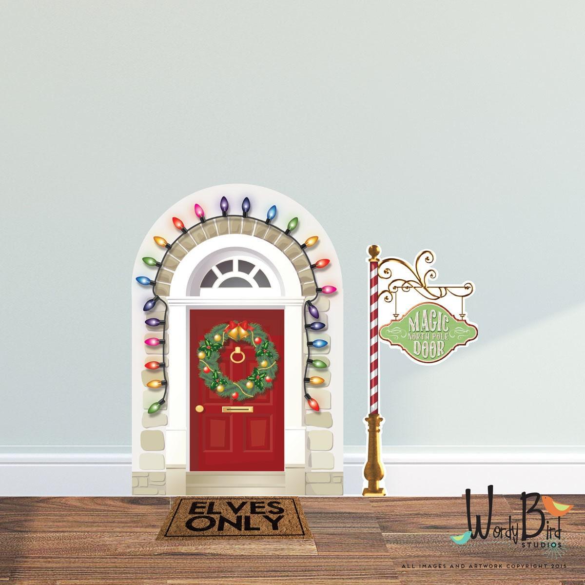 ?zoom  sc 1 st  Etsy & Christmas Elf Door Decal Elf Prop Wall Decal Set Reusable