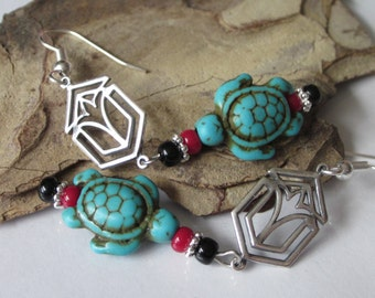 Turquoise Turtle Earrings, Silver Tribal Earring, Blue Turquoise, Howlite Gemstone Jewelry, Boho, Bohemian Tribal