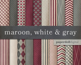 Maroon Digital Paper - Gray Digital Paper - Distressed Digital Paper - Plaid Digital Paper - Instant Download - 20 Sheets