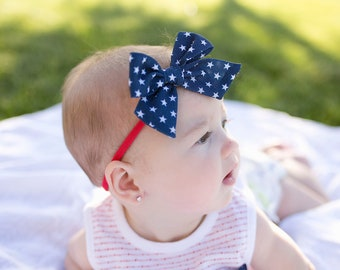 4th of July U PICK clip or nylon hair bow Headband baby headband Red white blue Independence day