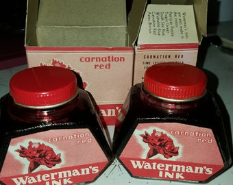 SALE/Vintage ink / red ink /watermans /fountain pen / calligrapher/ carnation red