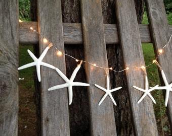 Lighted starfish garland beach decor mantel window display buffet table clear lights bridal shower lighting wedding made to order