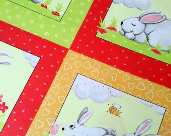 Cotton fabric Bunny and friends - panel by Susybee