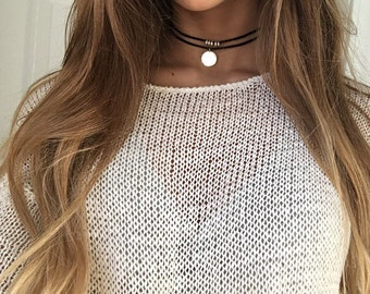 Silver Ring Choker, Black Cord Choker Necklace, Gift for her, Layered Choker Necklace
