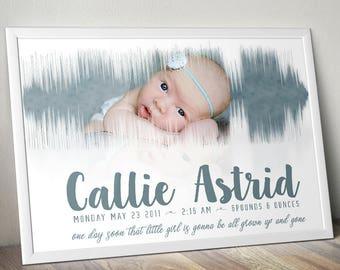 Newborn Photo Soundwave 8x10 Poster Nursery Baby Shower Gift