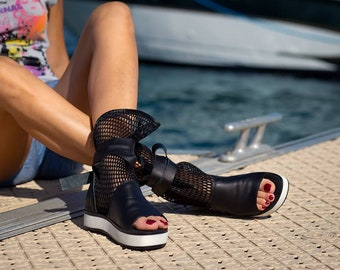 Women platform open toe cut out lace up summer sneakers ankle boots shoes genuine leather cut out fishnet summer sneakers