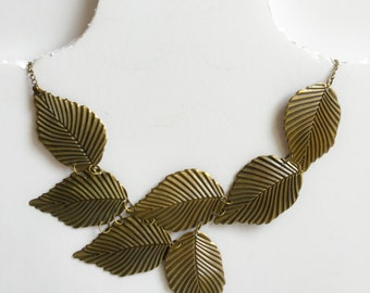 SALE Handmade Vintage Necklace with fashion antique gold leaves, eco and nature!
