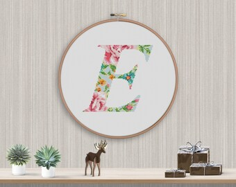 "BOGO FREE! Letter Cross Stitch Pattern, Floral Big Letter ""E"" Silhouette Flower Counted xStitch, Modern Decor PDF Instant Download #025-18-3"