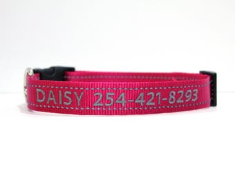 Custom Personalized Embroidered Pink Reflective Dog Collar