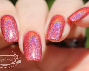 Ibiza Sunset. Coral with Orange Undertone Holographic (Holo) Nail Polish. (15 mL, .5 oz)